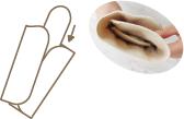 (1)三つ折りを扇状にして三つ折りのおしり部分にプラスすると、夜用布ナプキンが足りない場合でも安心!