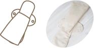 (3)夜用布ナプキンのおしりの部分に三つ折り布ナプキンを扇状に折り重ねる