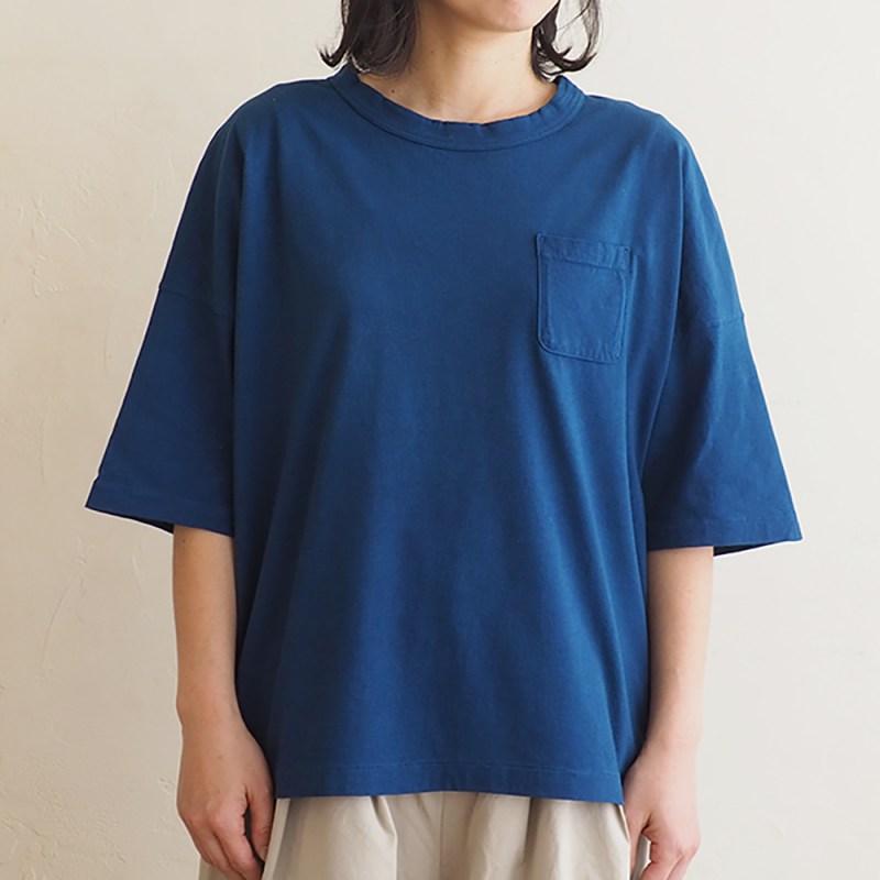 正藍染メイドインアースのTシャツ【度詰天竺】