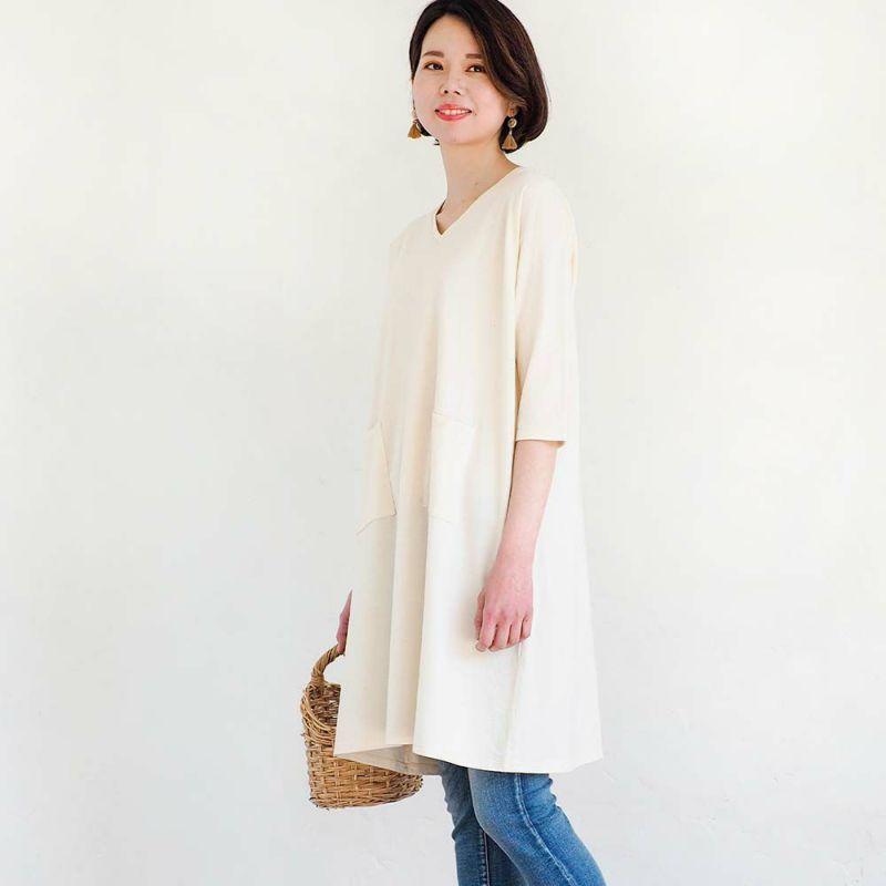 7分袖ワンピース【度詰天竺】【キナリ】